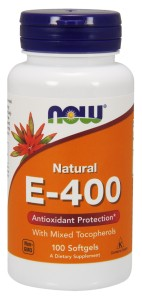 E-400 with mixed Tocopherols Witamina E  400iu  Now Foods 100kaps.